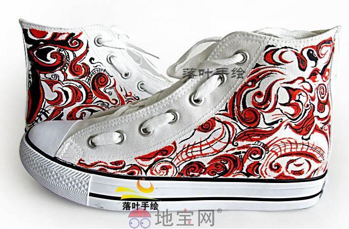 落叶手绘手绘鞋画工精细图案个性时尚潮流
